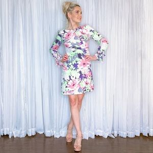AmandaRSowards Dresses - White Pastel Floral Dress with Long Sleeves